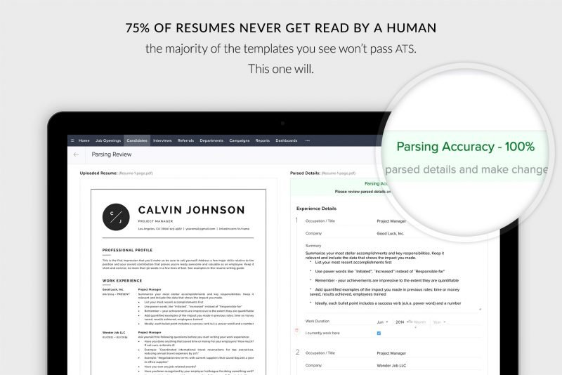 "ATS-friendly resume / CV template ""Calvin"""