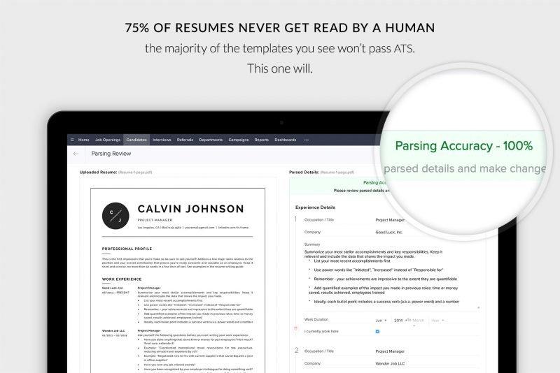 """ATS-friendly resume / CV template """"Calvin"""""""