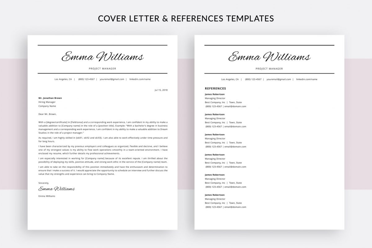 """Elegant Resume Template """"Emma"""" + BONUS 
