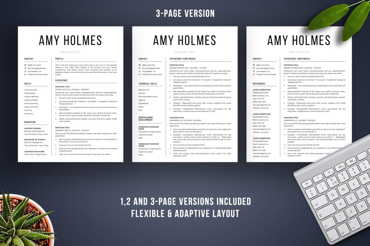 "Bold Resume Template ""Amy"" + BONUS | 3-Page Version"