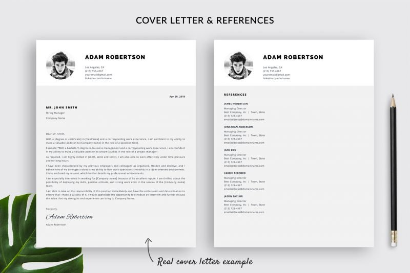 "Cover letter template and references template included in ""Adam"" resume template pack"