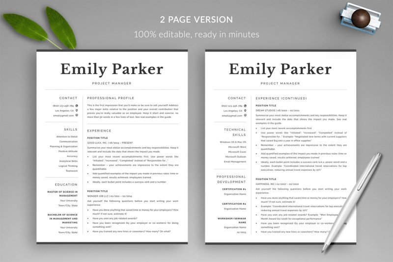 2 page resume template included