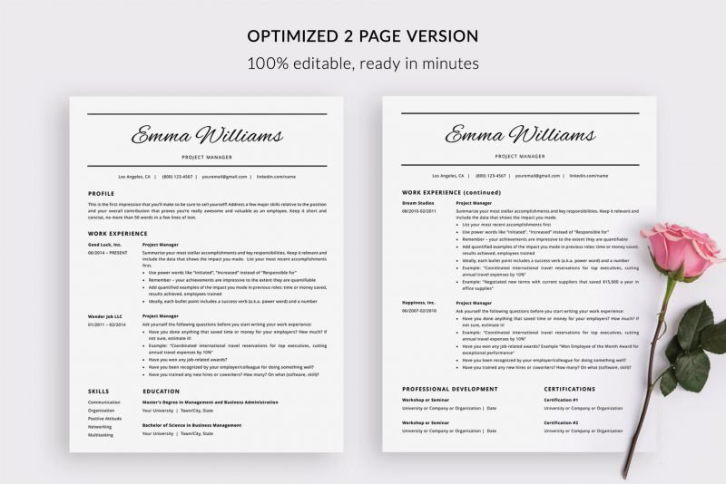 "2-page CV template / resume template ""Emma"" by TemplateHippo"