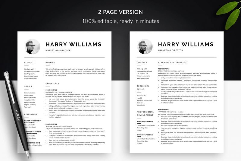 "2-page resume template with photo for Word and Pages ""Harry"""