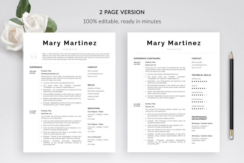 "2-page resume template for Microsoft Word and Mac pages included in ""Mary"" by TemplateHippo"