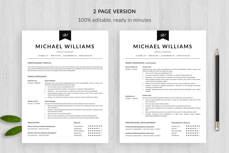 """2 page resume template for Microsoft Word and Mac pages included in """"Michael"""" resume package"""