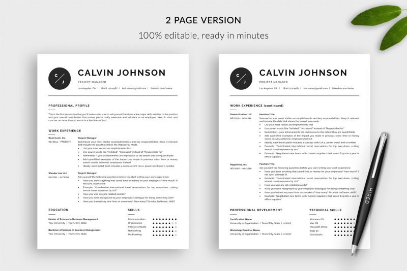 "Modern 2-page resume template for Word and Pages ""Calvin"""