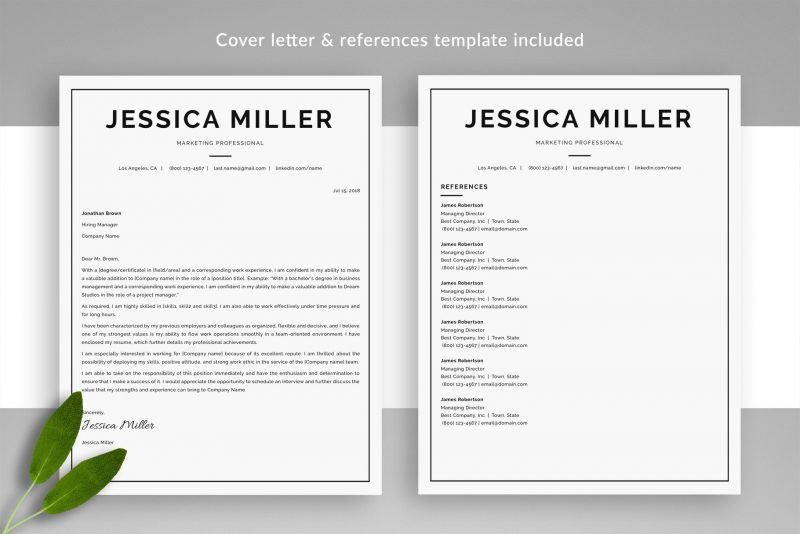 """Classic Resume Template """"Jessica"""" + BONUS 