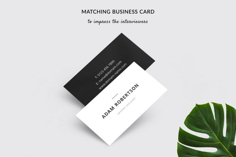 "Business card template included in ""Adam"" resume template package"