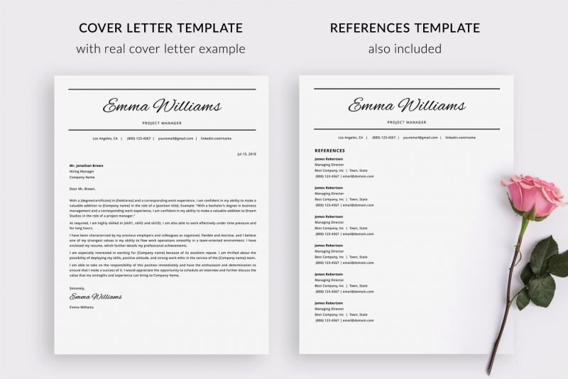 "Cover letter template and references template included in ""Emma"" CV template package package"