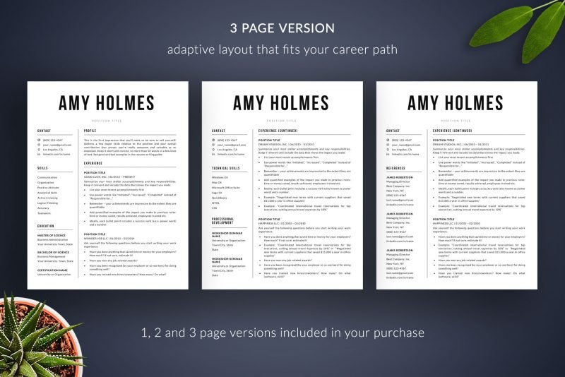 """3-page resume template / CV template included in """"Amy"""" resume makeover package"""