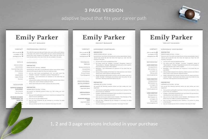3 page resume template included