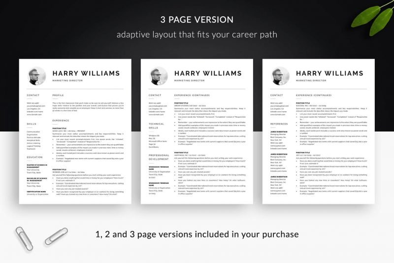 "3-page resume template with photo for Word and Pages ""Harry"""
