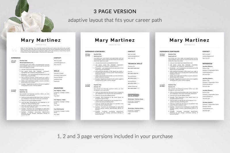 "3-page resume template for Microsoft Word and Mac pages included in ""Mary"" by TemplateHippo"