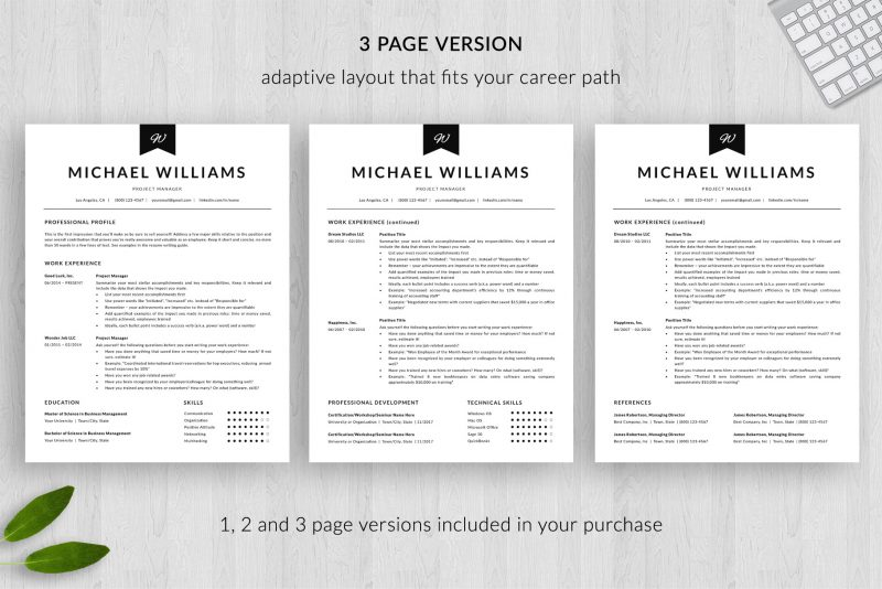 """3 page resume template for Microsoft Word and Mac pages included in """"Michael"""" resume package"""