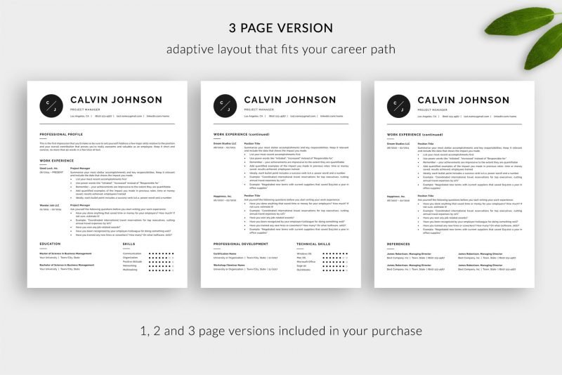 "Modern 3-page resume template for Word and Pages ""Calvin"""