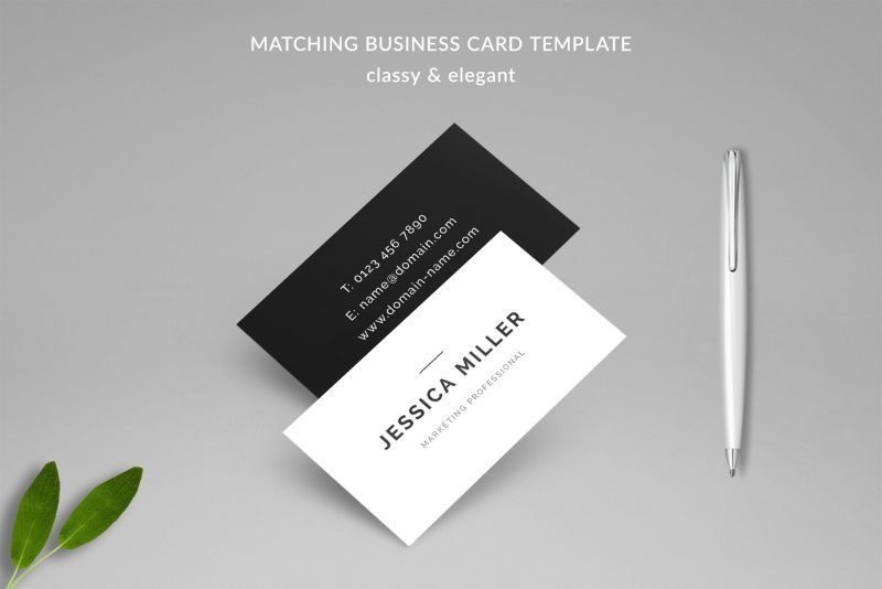 "Classic Resume Template ""Jessica"" + BONUS | Matching Business Card Template"