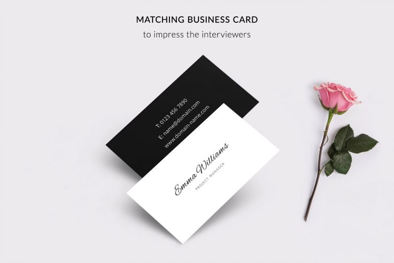 "Modern business card template included in ""Emma"" resume makeover package"