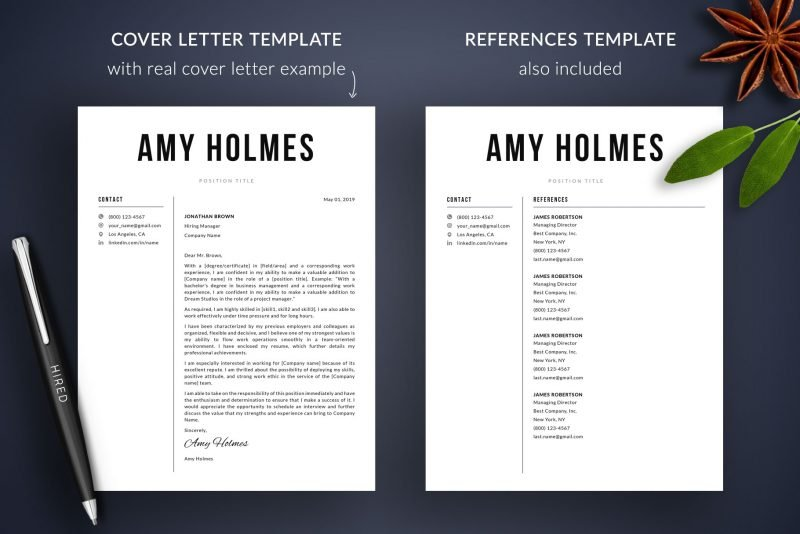 """Cover letter template with examples and references template included in """"Amy"""" resume template package"""