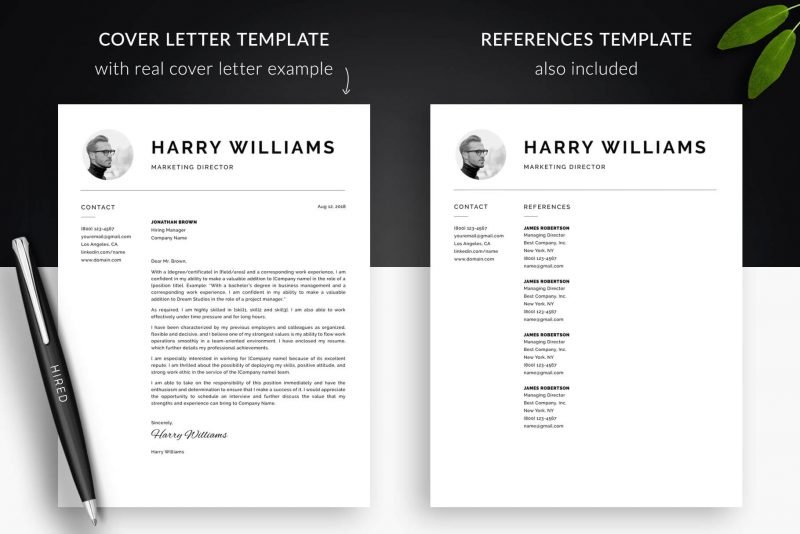 "Cover letter example template and references template inside photo resume template package ""Harry"""