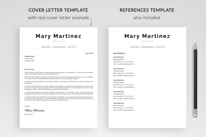 "Cover letter template and references template in ""Mary"" resume pack"