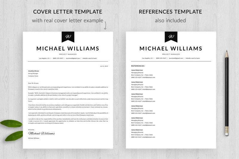 """Resume and cover letter template + references template in """"Michael"""" resume makeover pack"""