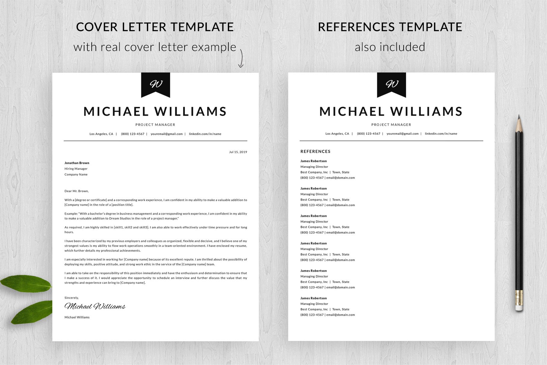 Modern Resume Template and Cover Letter Template \