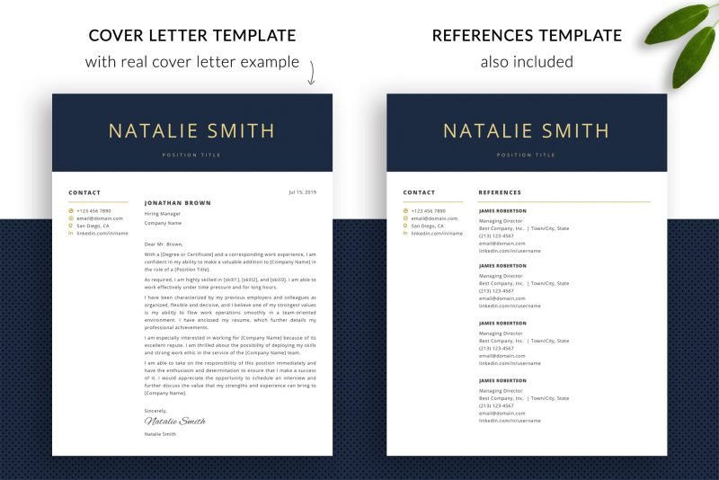 Cover letter and references templates
