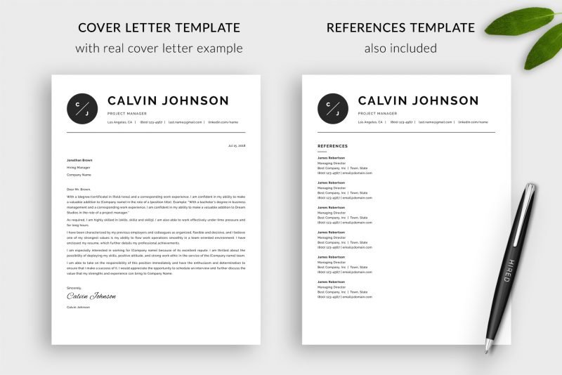 Matching cover letter template and references template included