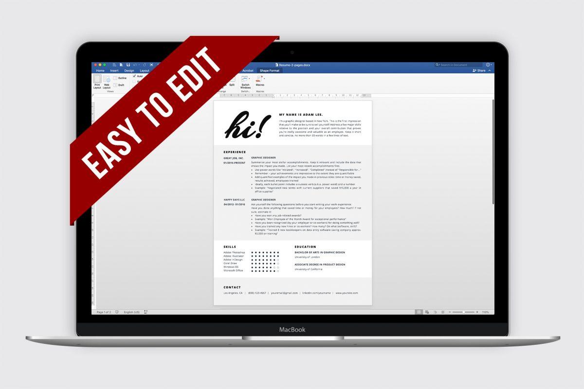 "Creative Resume Template ""Adam"" + BONUS | Edit in Word or Pages"
