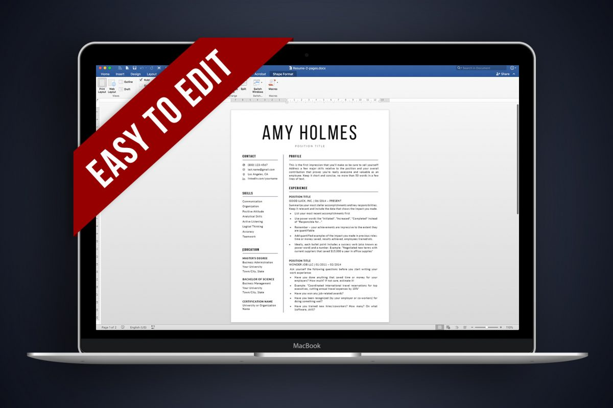 """Bold Resume Template """"Amy"""" + BONUS 