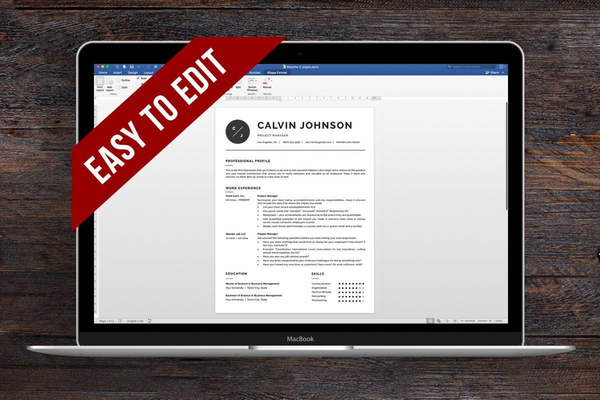Versatile Resume Template And Cover Letter Template Calvin Bonus