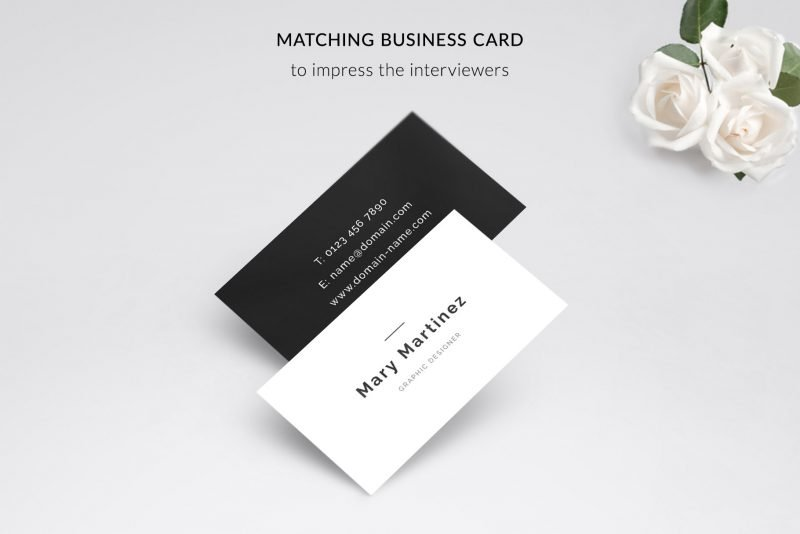"Business card template included in ""Mary"" resume template pack"