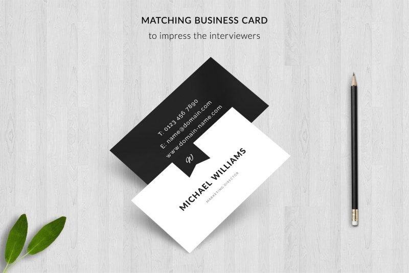 """Matching business card templates included in """"Michael"""" resume template package"""