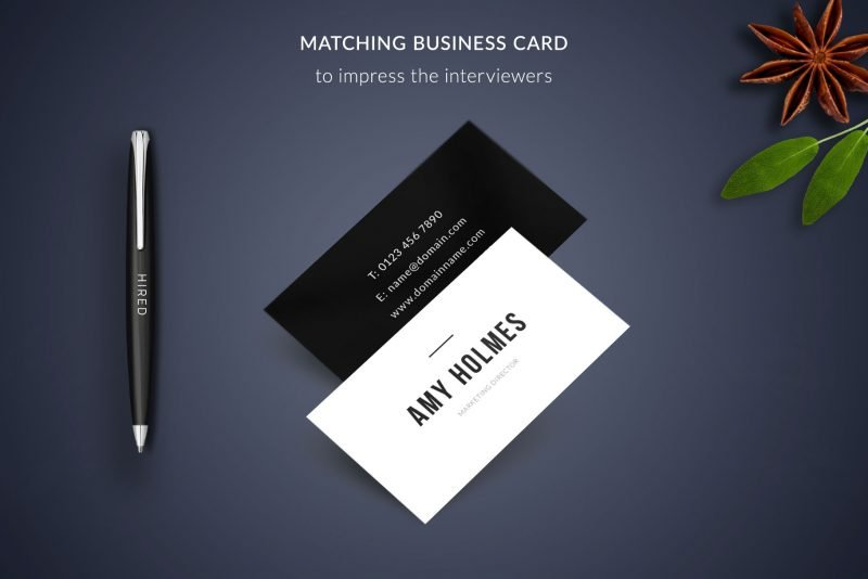 """Business card template included in the """"Amy"""" package"""