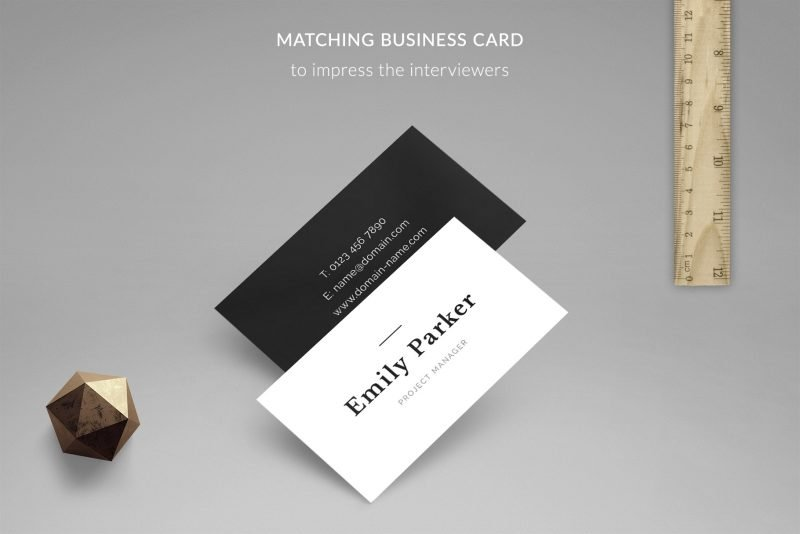 """Free business card template included in """"Emily"""" resume template package"""