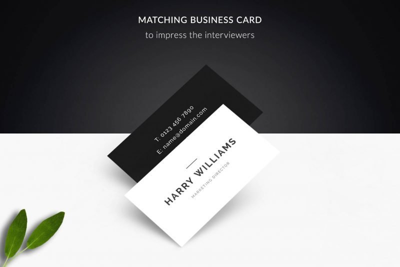 """Matching business card template - psd and pdf included in """"Harry"""" resume template package"""