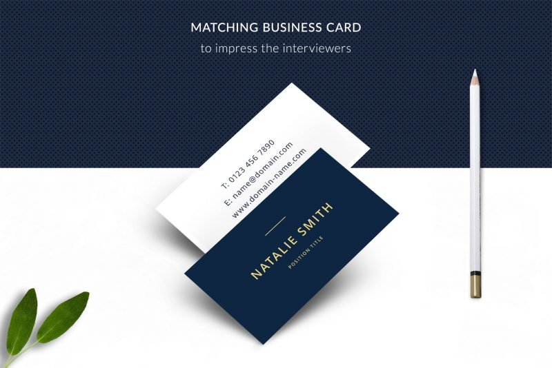 """Bonus business card template included in """"Natalie"""" resume templates package"""