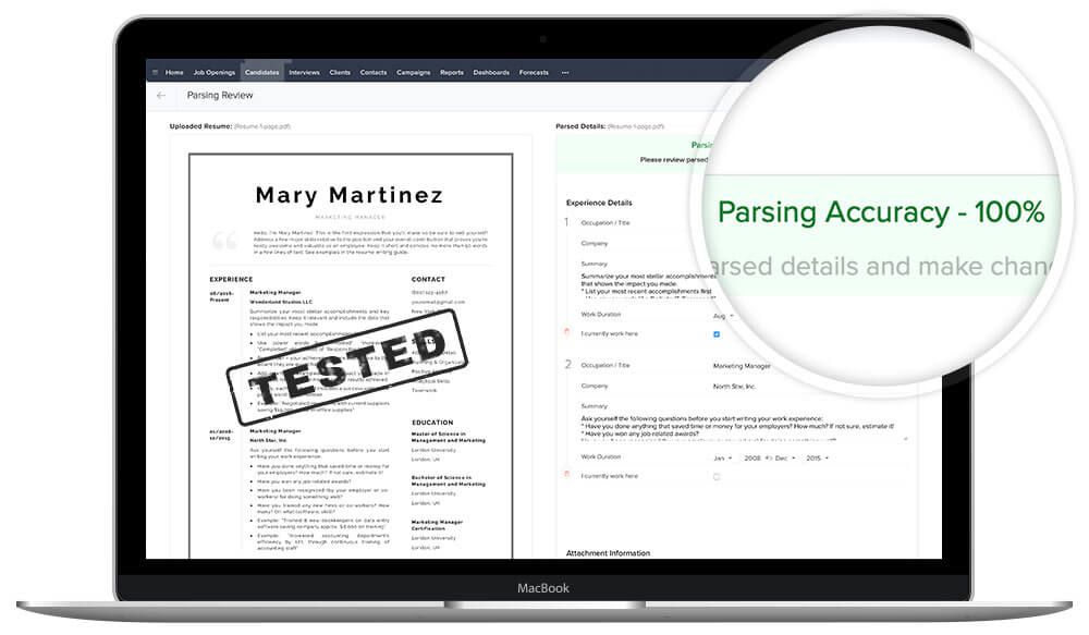 """Mary"" is ATS friendly resume template, tested by TemplateHippo"