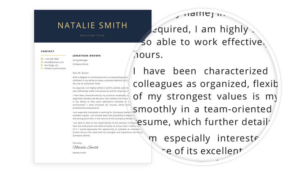 Cover letter sample included