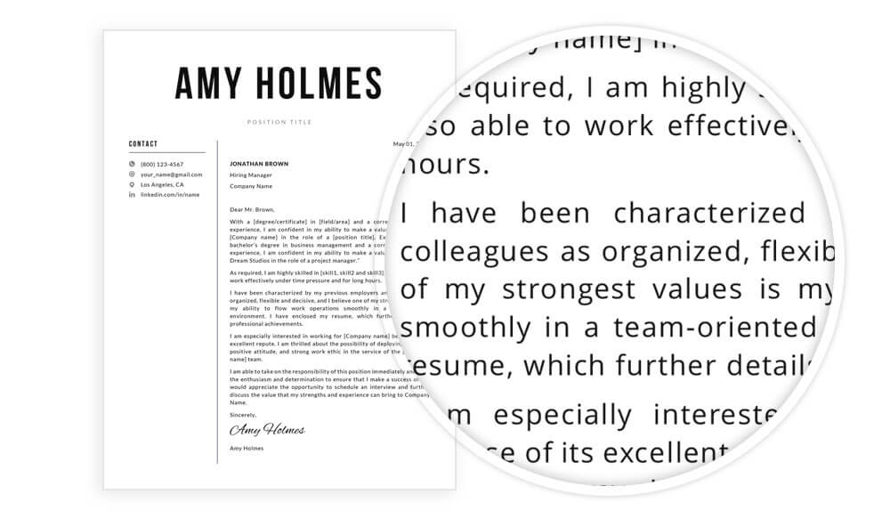 """Cover letter example included in """"Amy"""" resume makeover pack"""