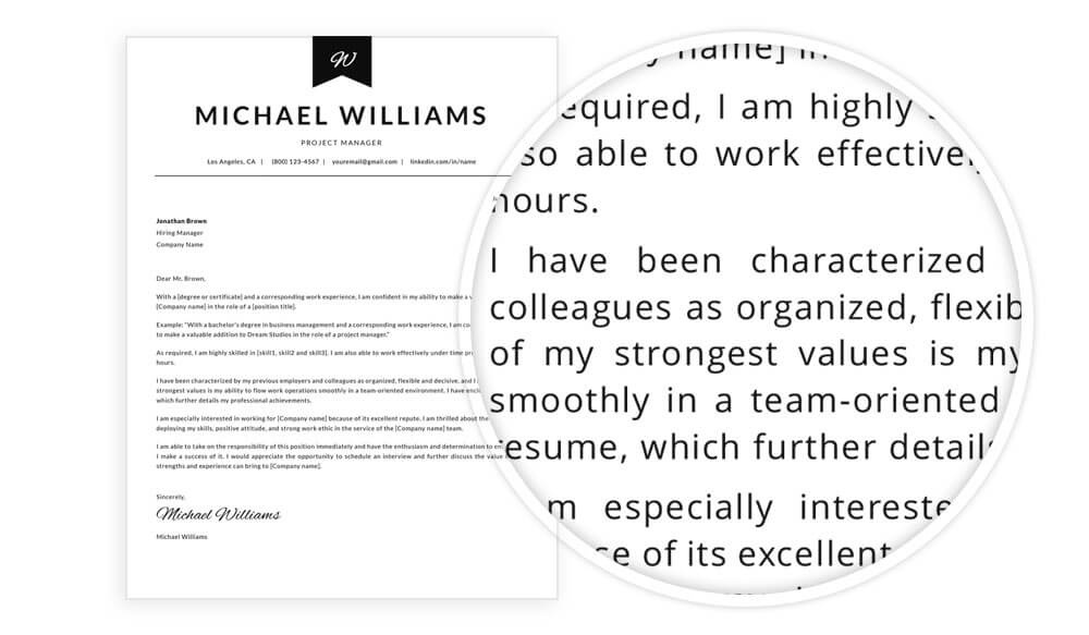 """Cover letter template with content example included in """"Michael"""" resume template pack"""