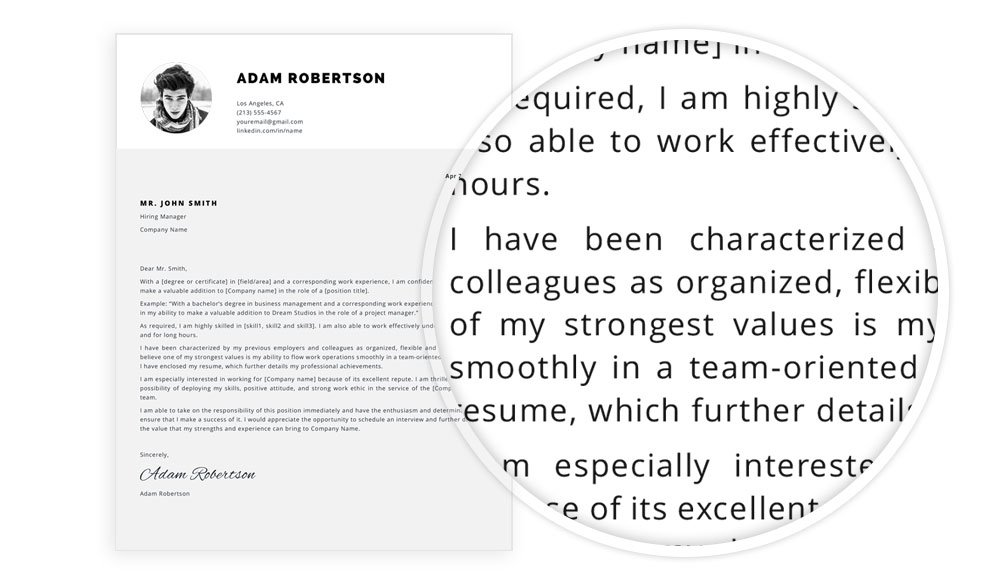 """Cover letter example included in """"Adam"""" resume template package"""
