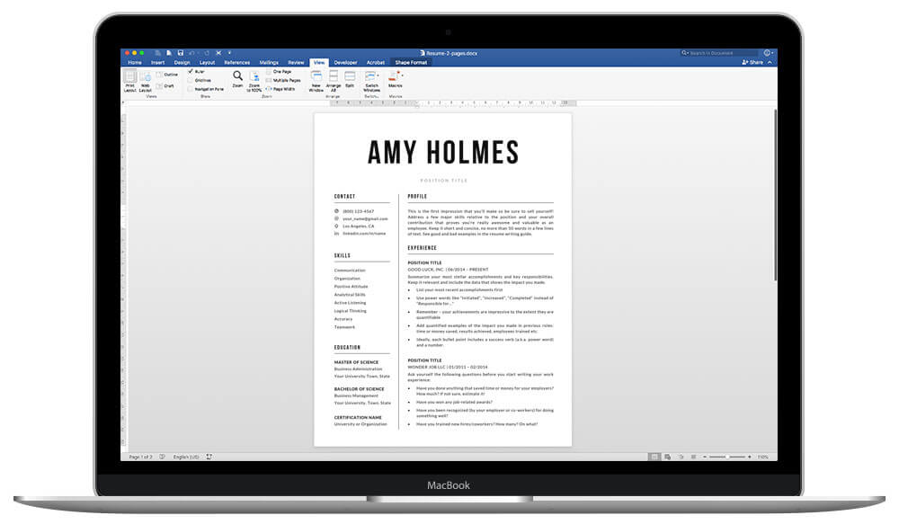 """Resume template /CV template """"Amy"""" is easy to edit and 100% customisable"""