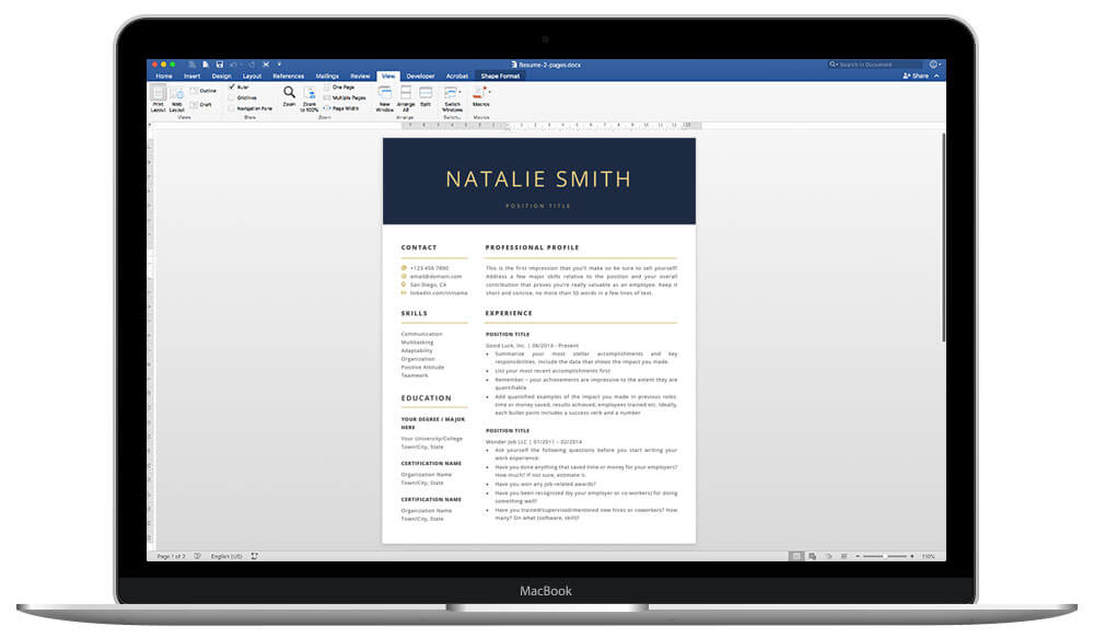 Easy to customize resume templates