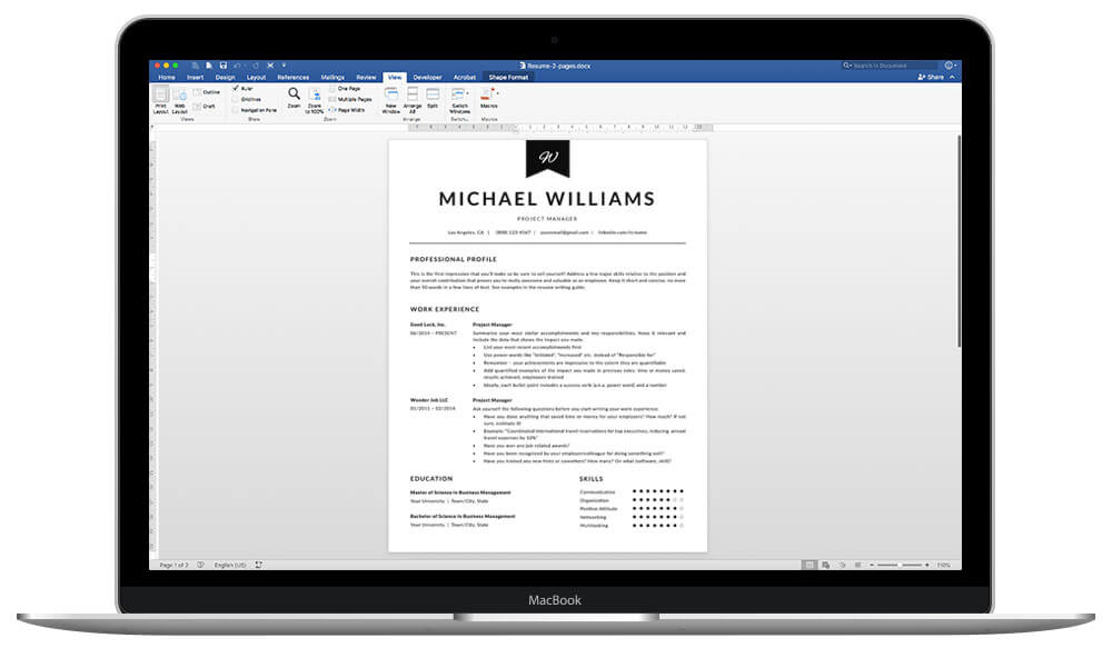"""Easy to edit resume template """"Michael"""""""
