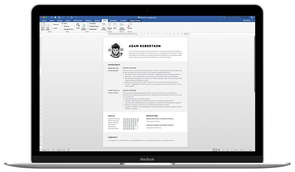 """Easily editable in Microsoft Word and Pages - """"Adam"""" resume template package"""