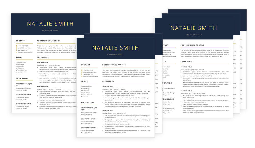 Resume CV templates for Word and Pages