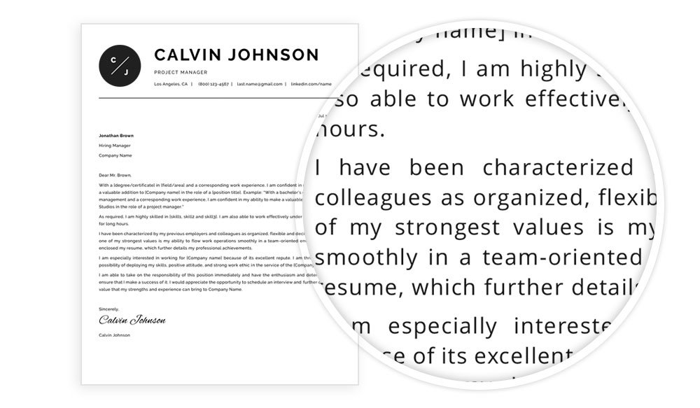 """Cover letter sample included in resume template package """"Eric"""""""