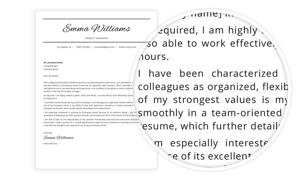 "Cover letter example included in ""Emma"" resume template"